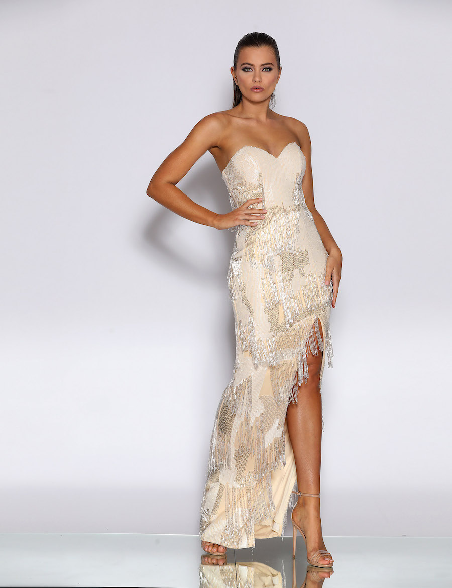 Floor length gown with beaded fringe detail and side split