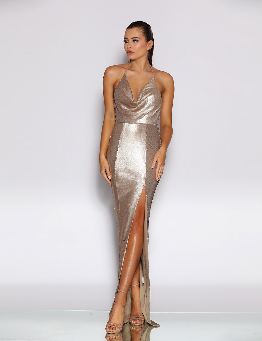 Glossy floor length cowl neck and low back gown