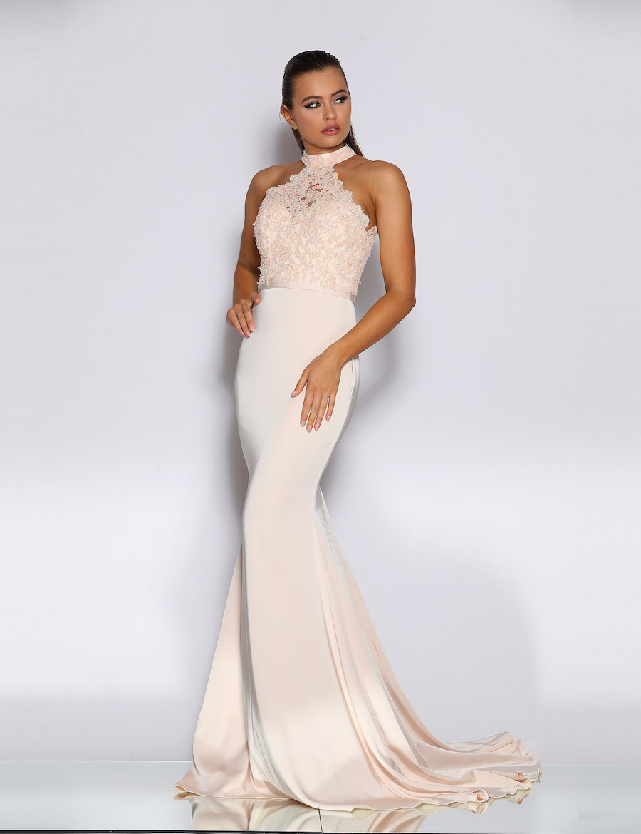 Stunning High Neckline Beaded Bodice Dress with Fishtail skirt and train