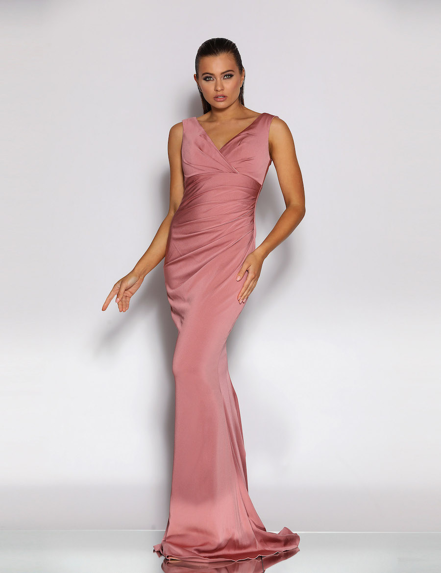 Elegant evening gown with V neckline and rouched bodice