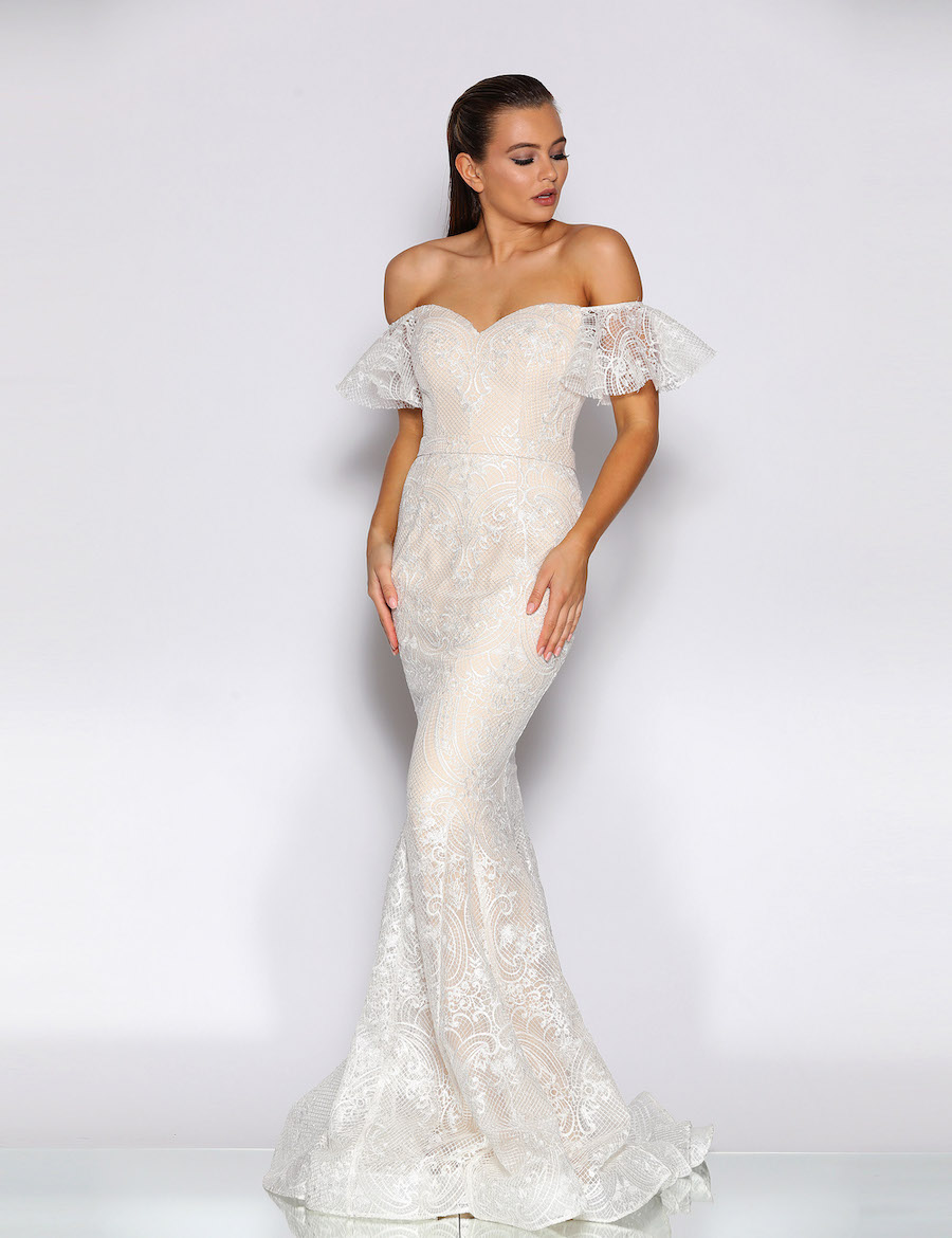 Fairytale Lace floor length gown with sweetheart neckline fluted sleeves