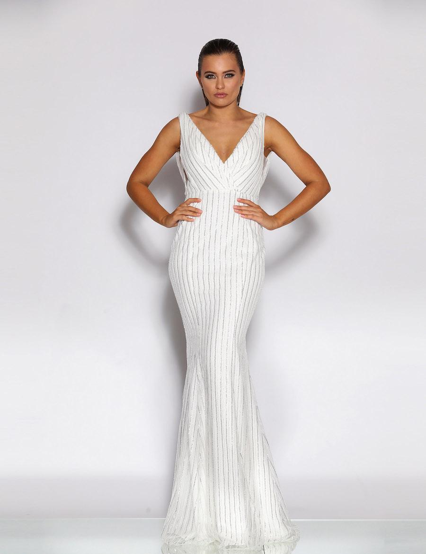 V Neckline Sequinned floor length gown