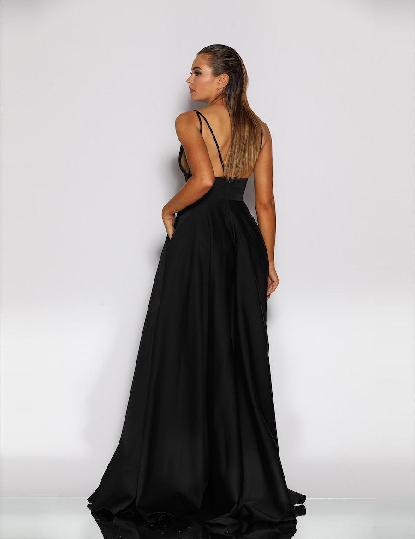 Bustier bodice A line satin dress with pockets