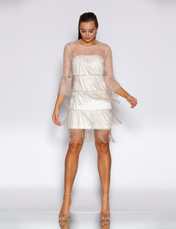 3/4 Sleeve Tassel Statement Short Dress