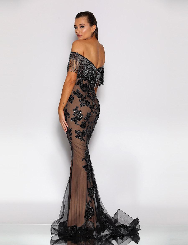 Floor length sweetheart neckline beaded dress with tassel sleeves