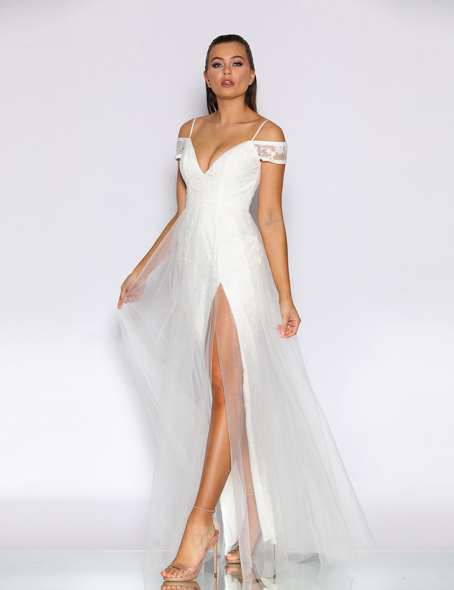 Beautiful Floor Length Gown with off the shoulder sleeves with plunging necklineand tulle overlay