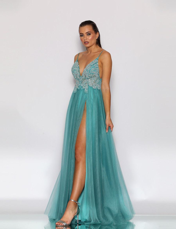 Beautiful embellished bodice v neckline floor length gown