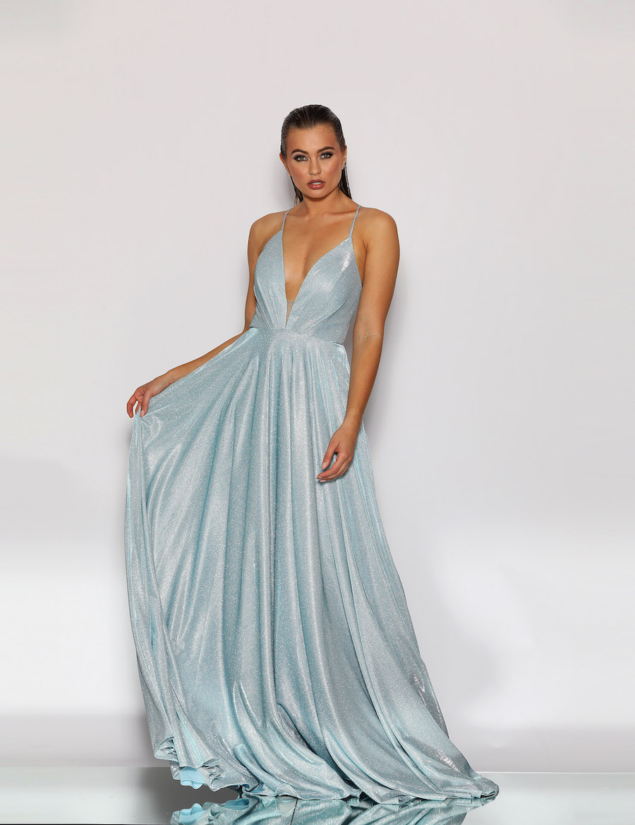 Shimmering Glitter Fabric Plunging Neckline full skirt with pockets and lace up back
