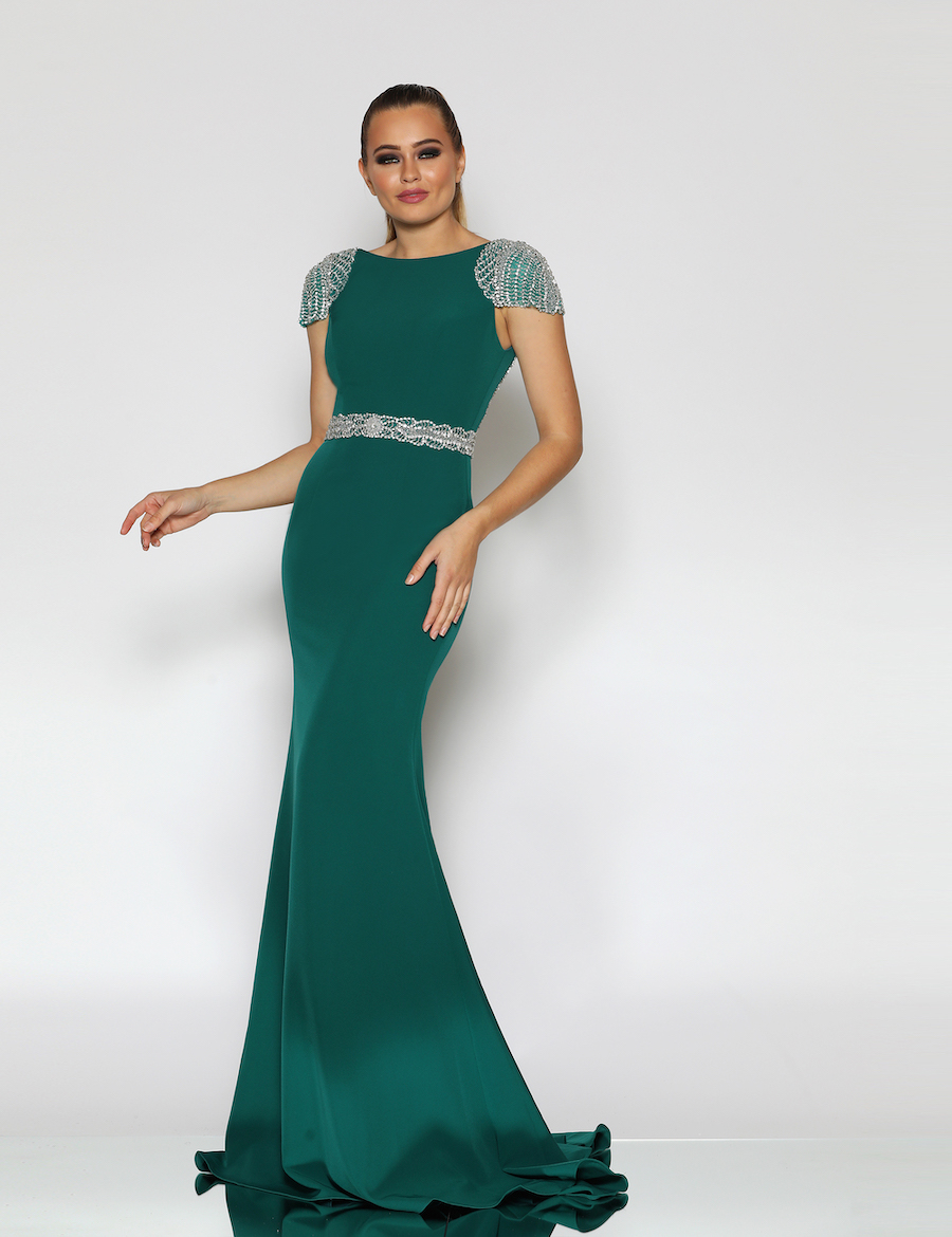 An Elegant Floor length gown with embellished capped sleeves and waistband
