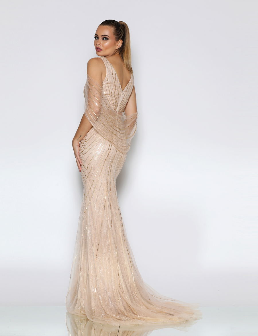 V neckline Sequinned elegant gown with detachable cape