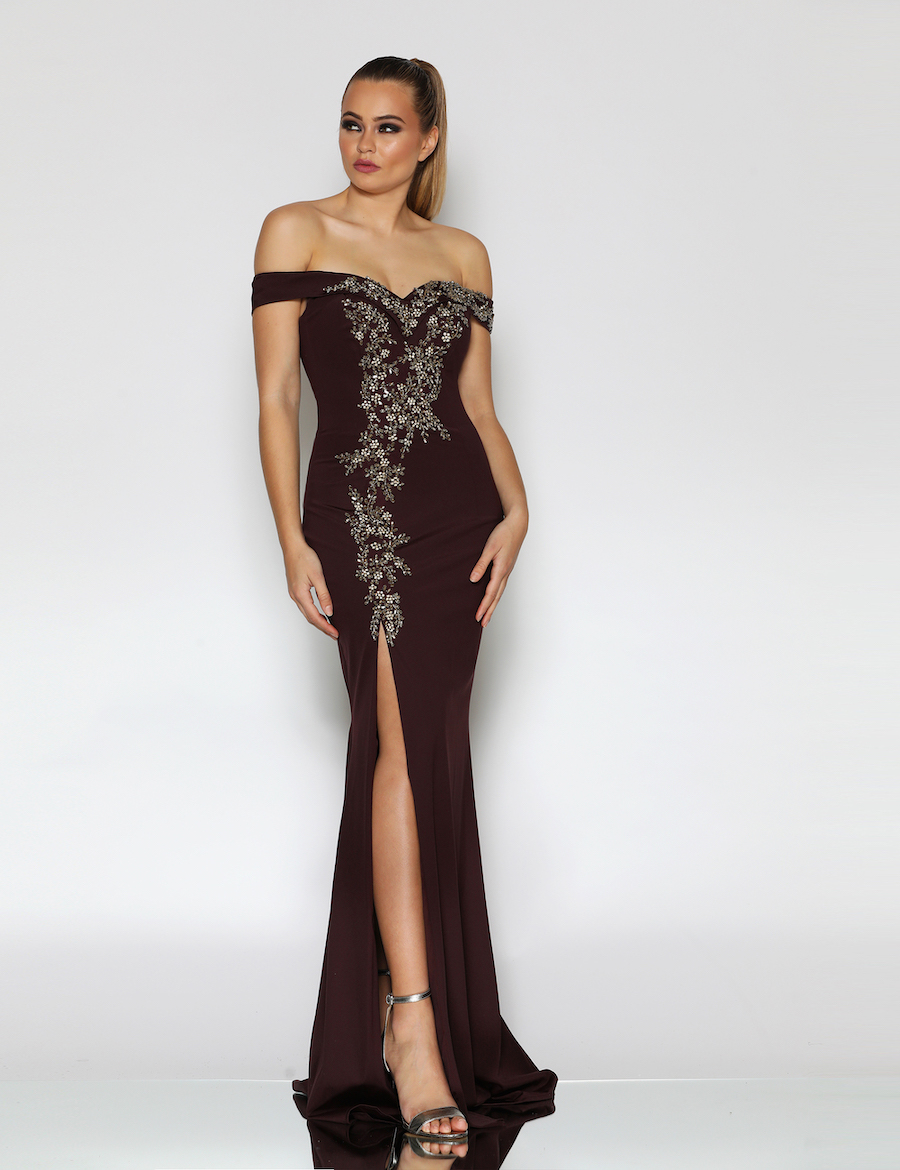 Off the shoulder Sweetheart neckline beaded bodice with front split floor length gown