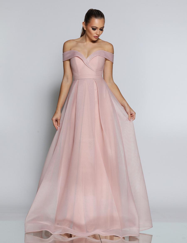 Off the shoulder sweetheart neckline floor length gown
