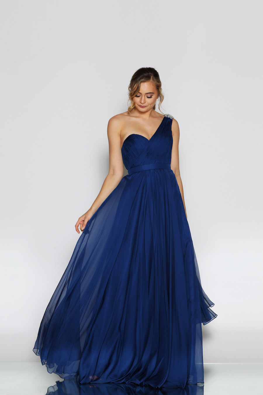 One shoulder chiffon flowing full length gown
