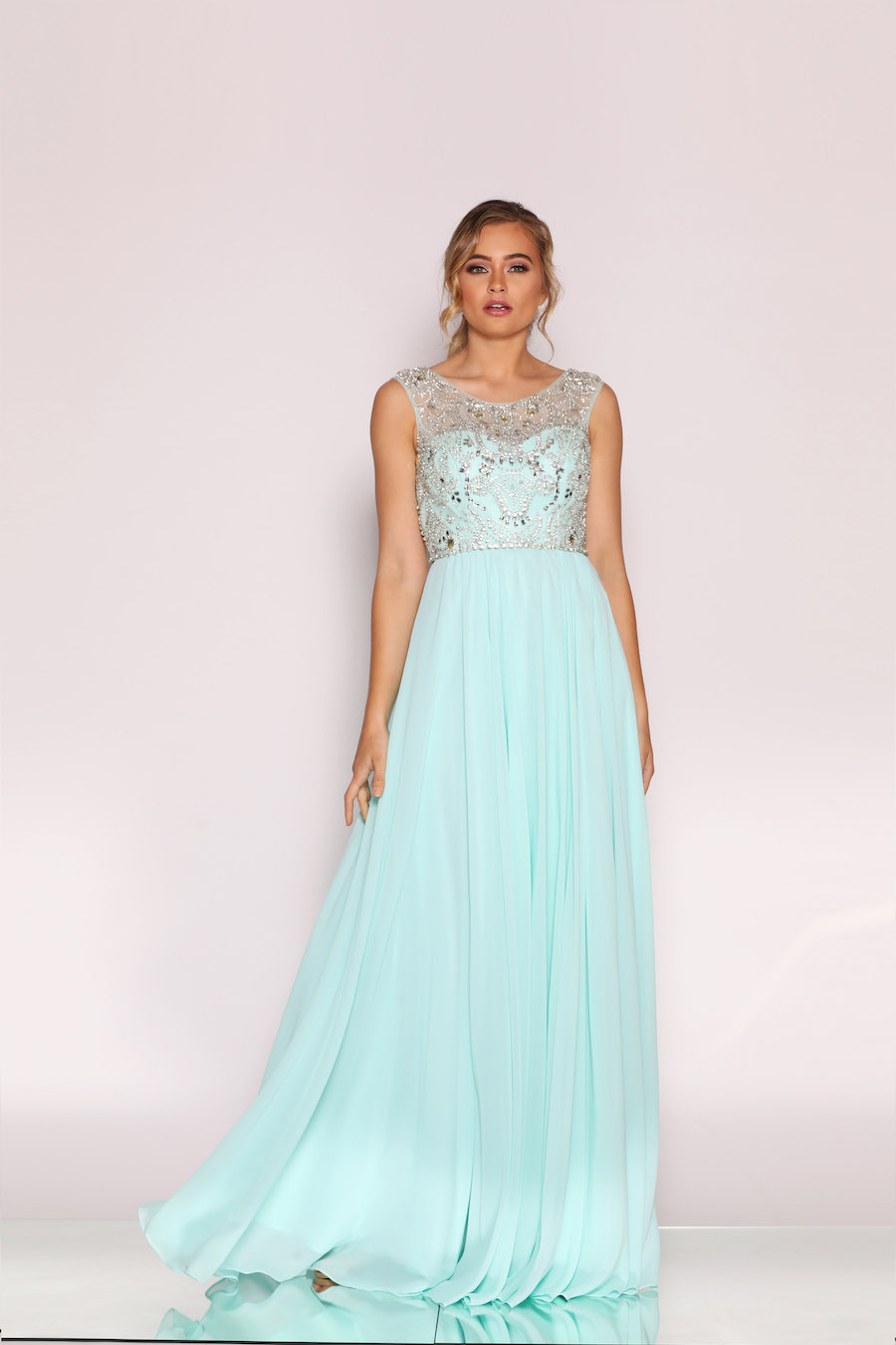 Beautiful beaded bodice chiffon full floor length gown