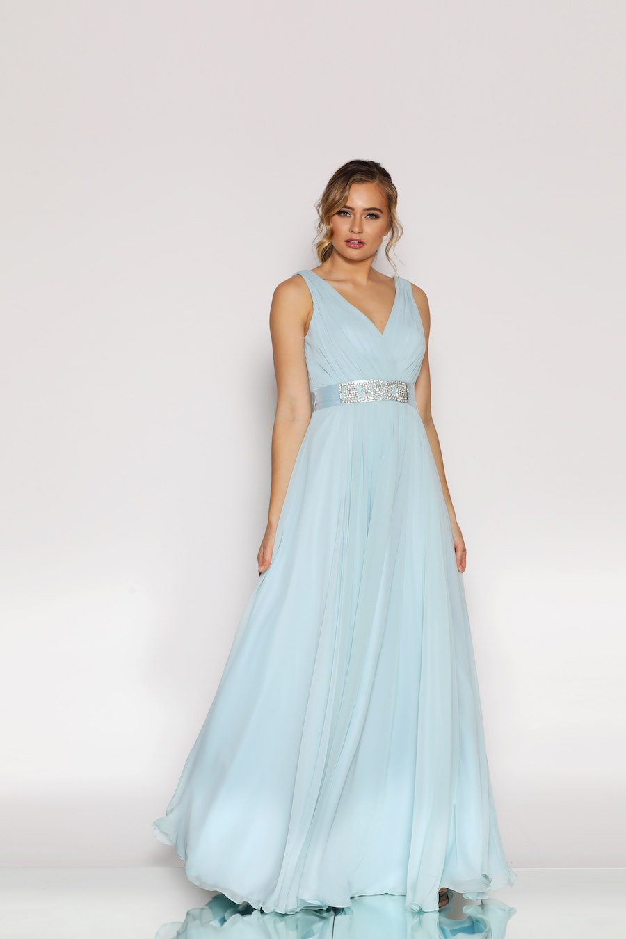 V Neckline gathered bust full length gown with diamante belt thick or thin or plain satin belt