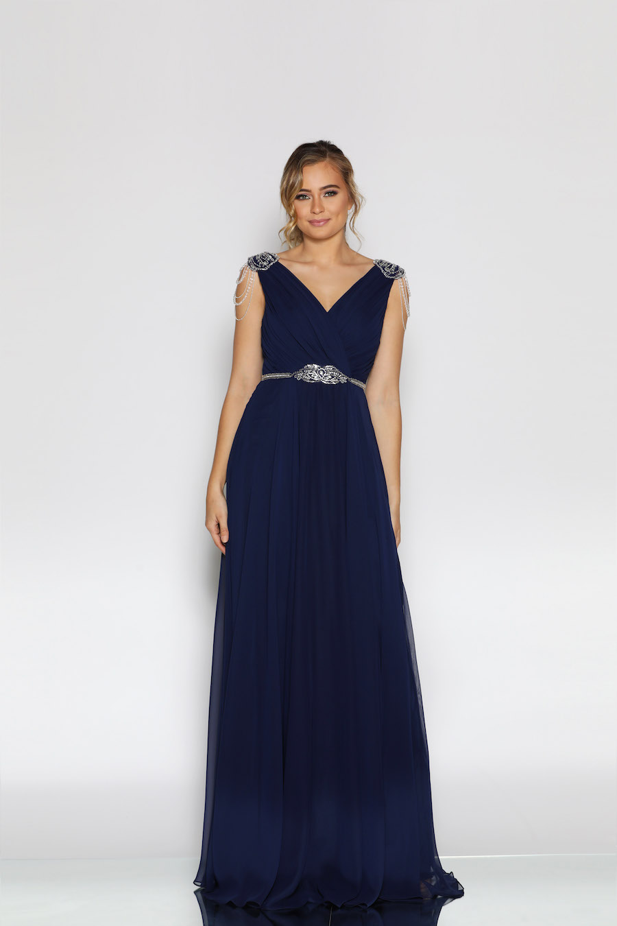 V neckline gathered bust line dress with embellishment on shoulders waistband full skirt