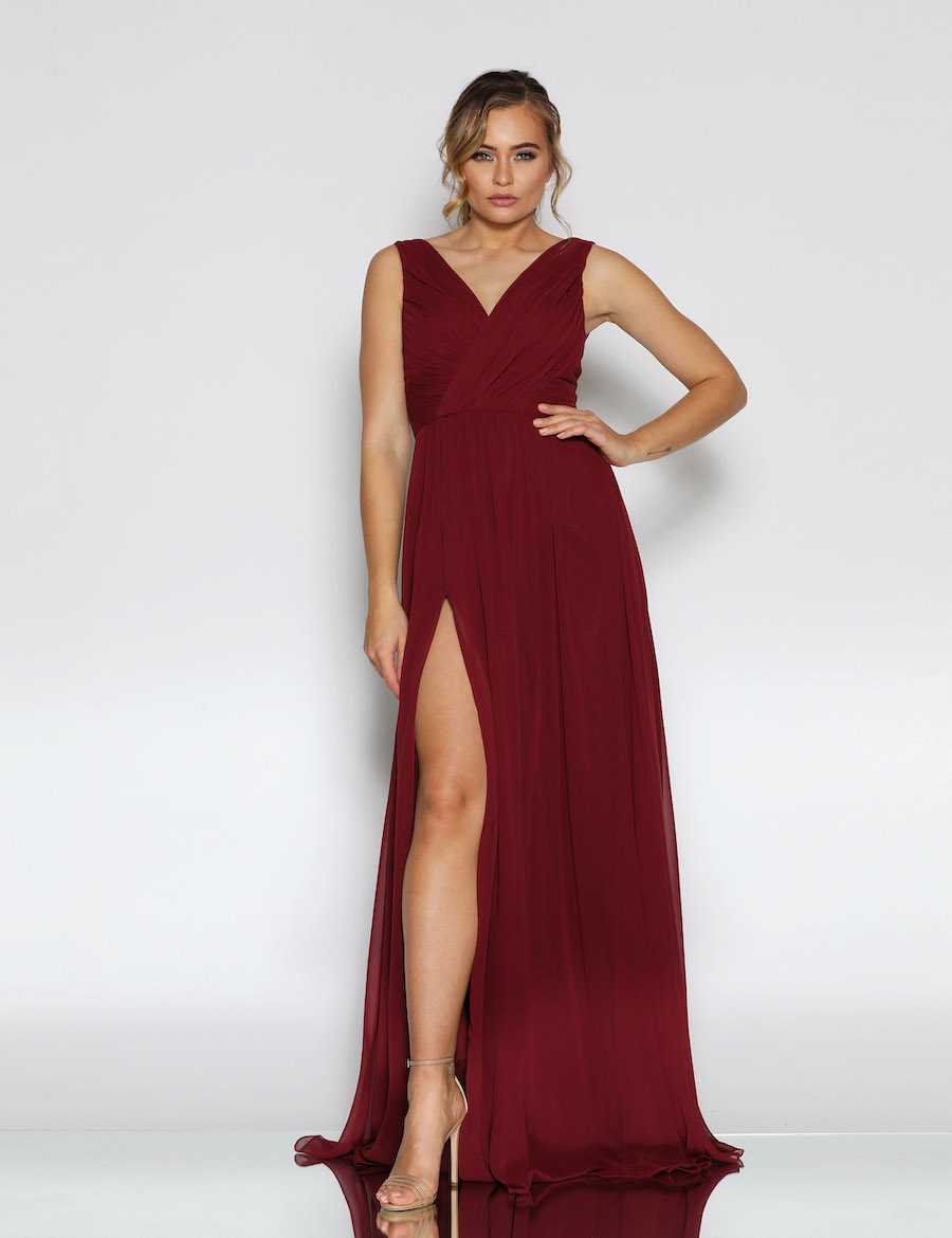 V neckline ruched chiffon floor length gown with split