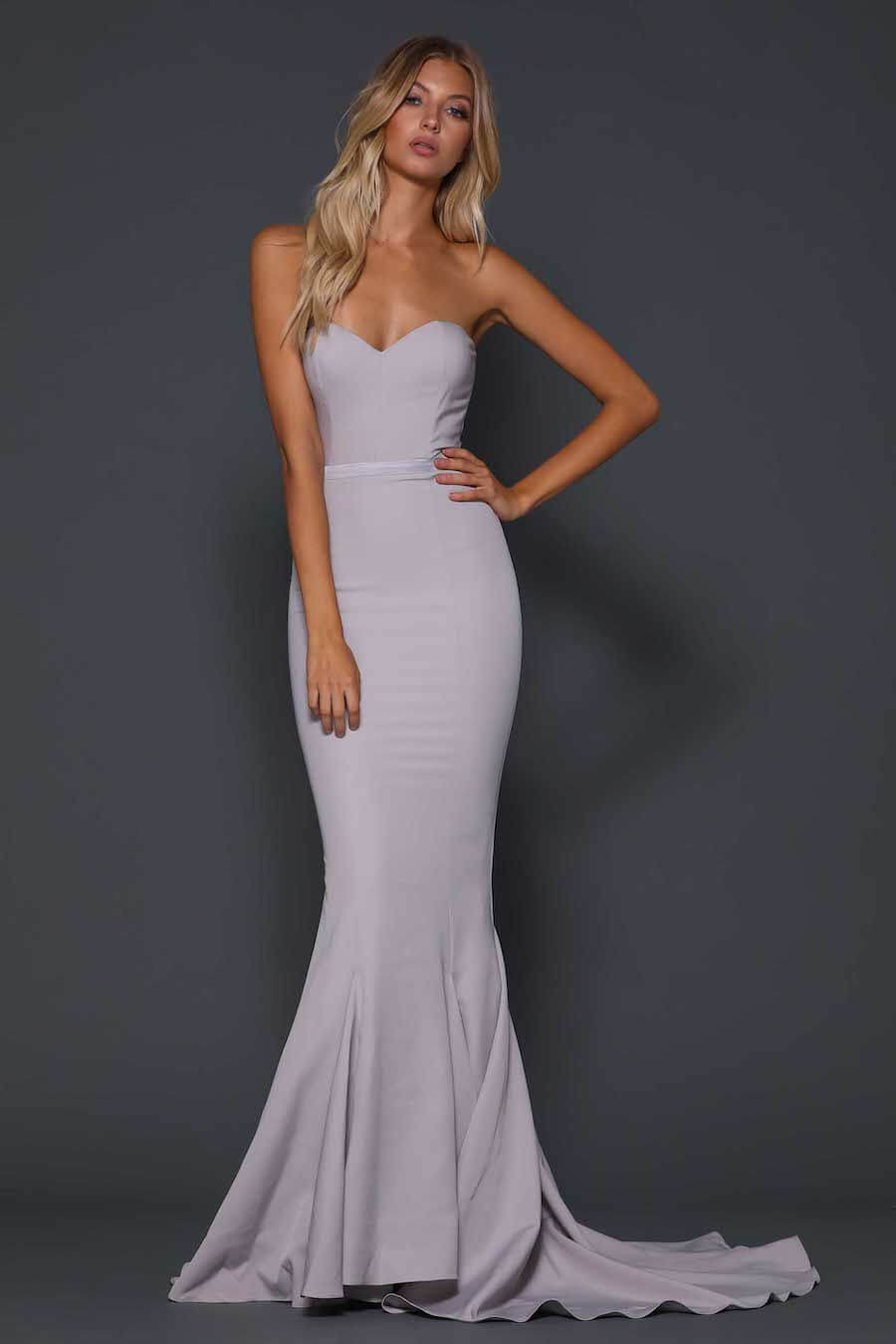 Strapless fitted floor length gown with train