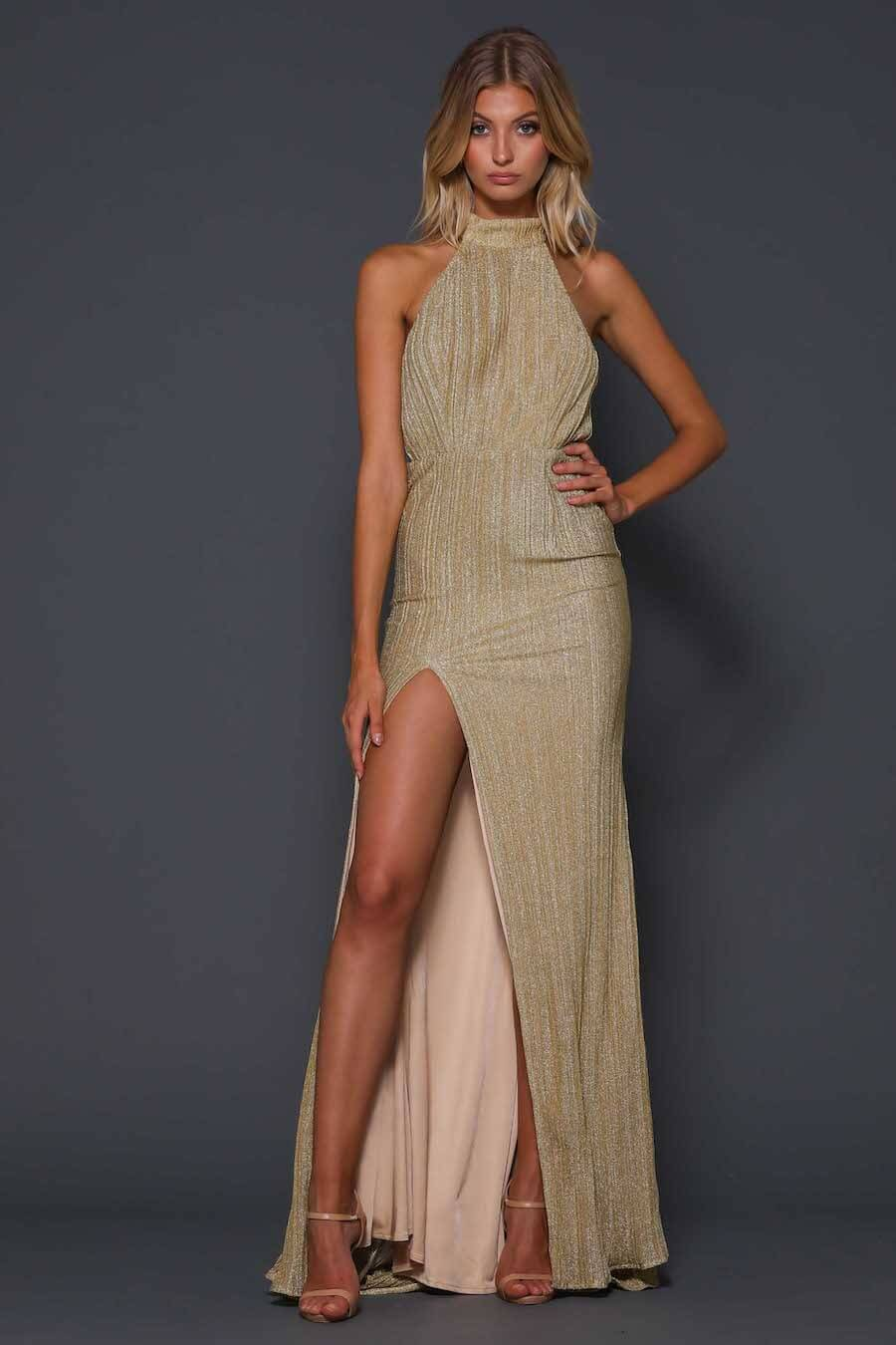 Halter neck gold full length gown with low back