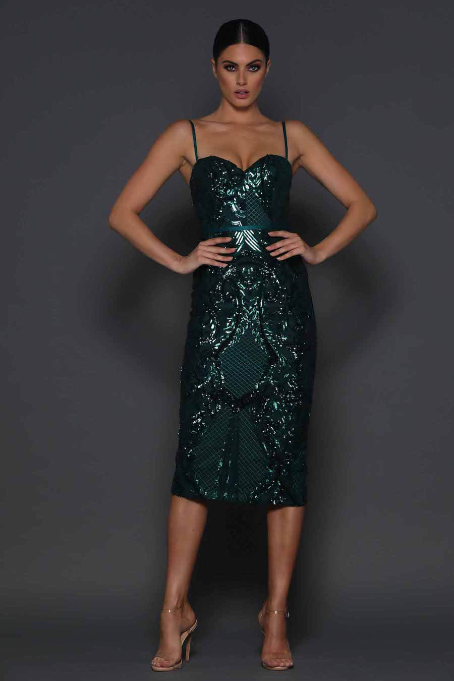 Shoestring strap sequinned fitted dress