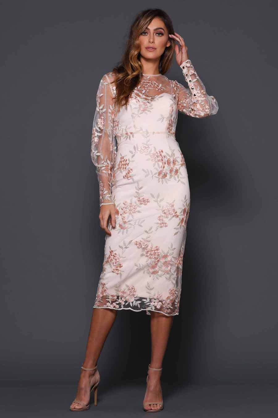 Ivory embroidered floral long sleeve dress