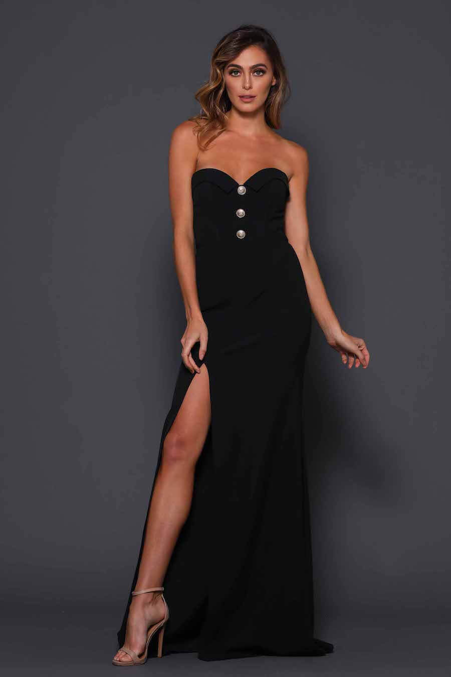 Strapless full length gown with gold button detail and high split
