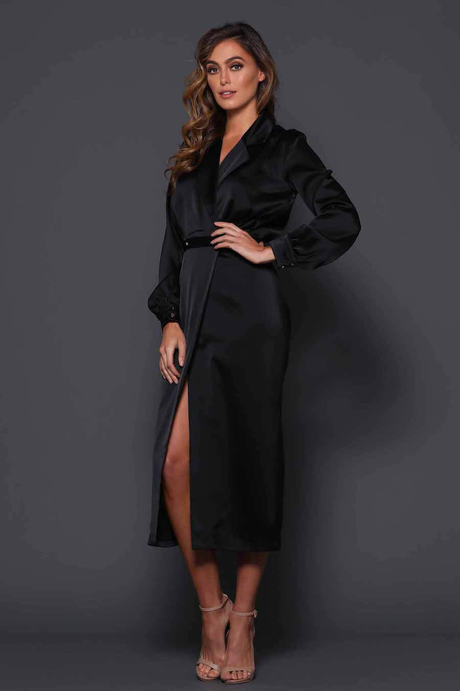 Black wrap dress with double breasted buttons on waist