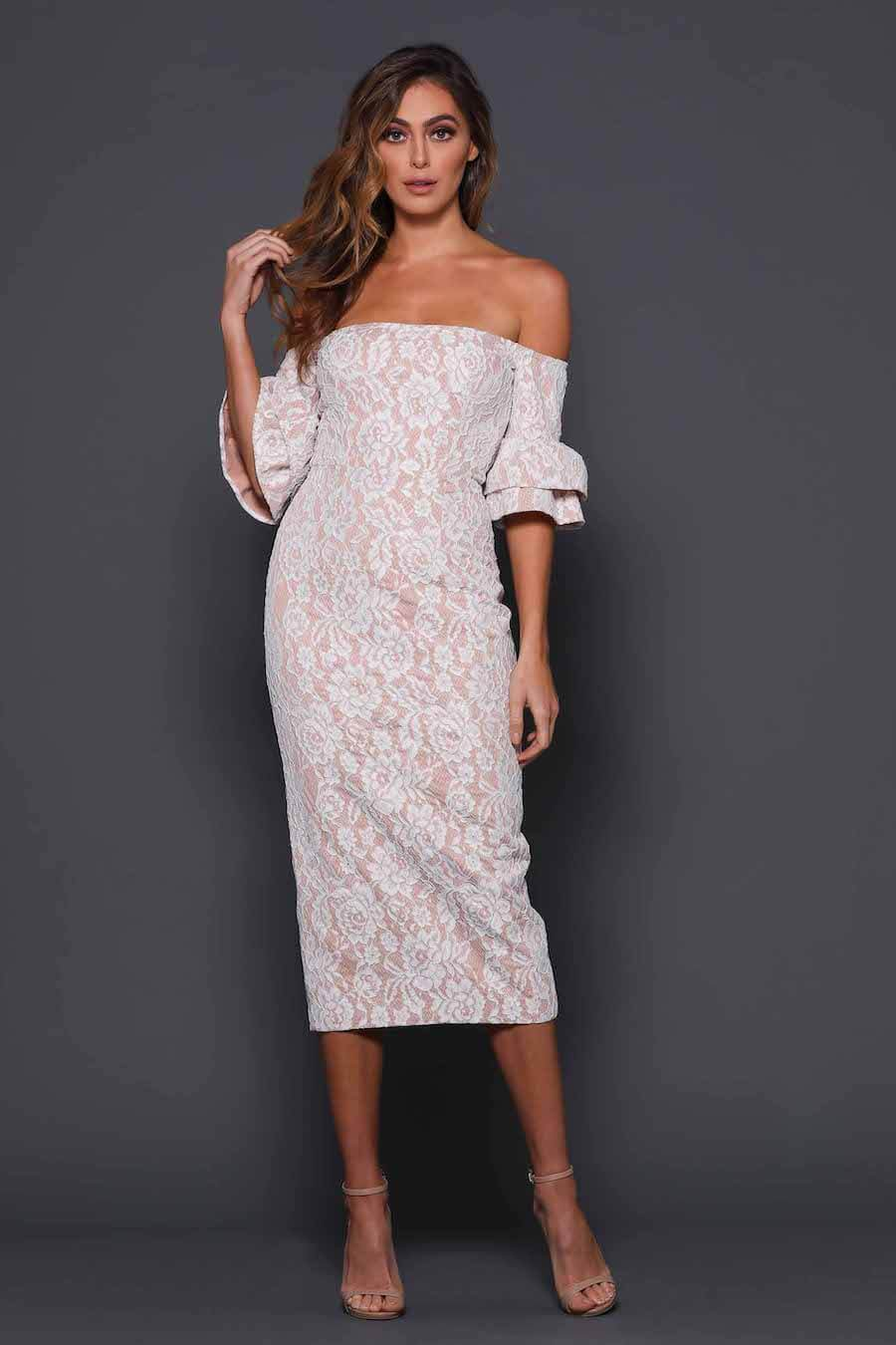 Off shoulder lace dress with nude underlay and dropped sleeves