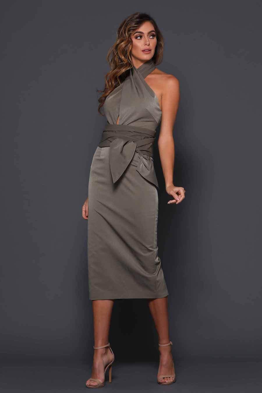 Halter dress featuring wide waistband wrap
