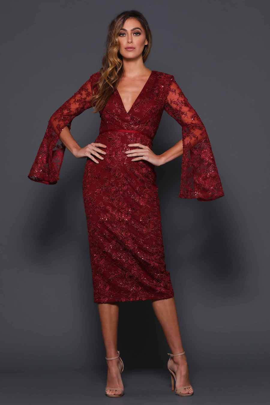 V neckline cocktail dress with sequinned detail and long split sleeves