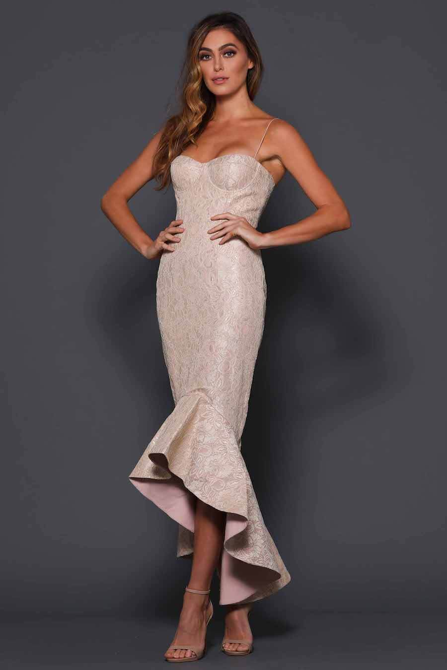 Spaghetti strap fitted dress with embossed pearl finish