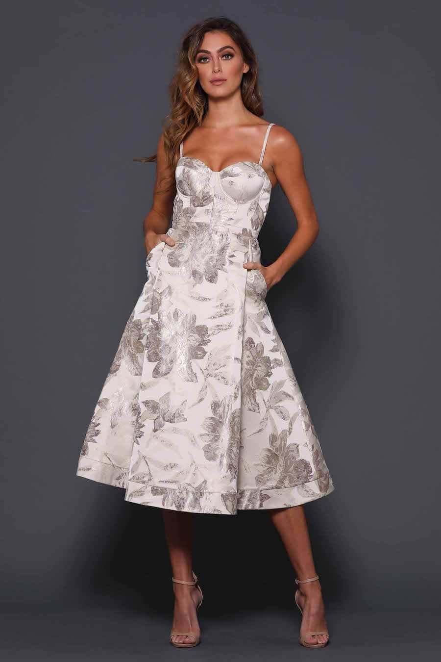 Gold print A-line tea length dress with pockets