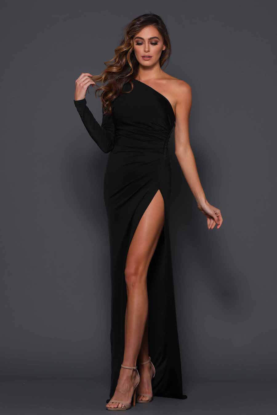 One shoulder high split ruched gown