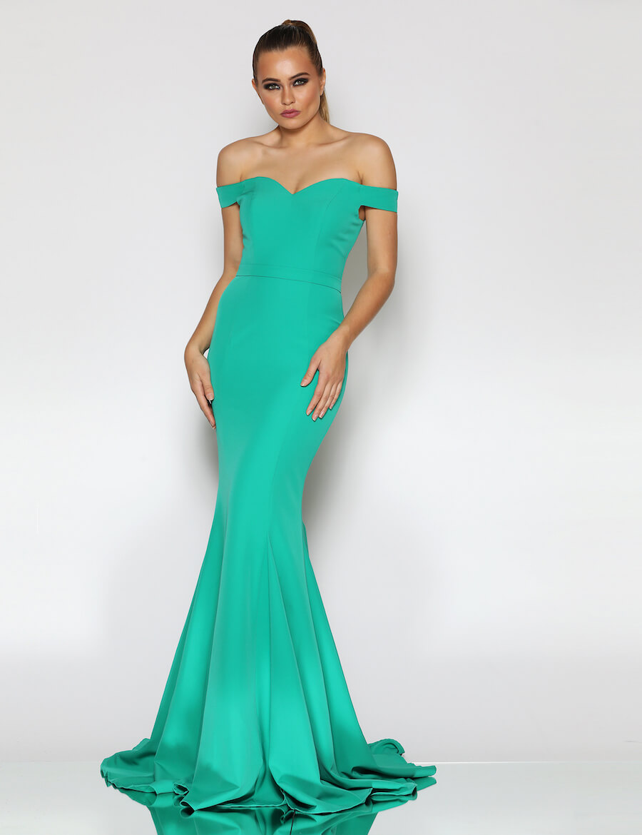Off Shoulder fitted floor length gown with train