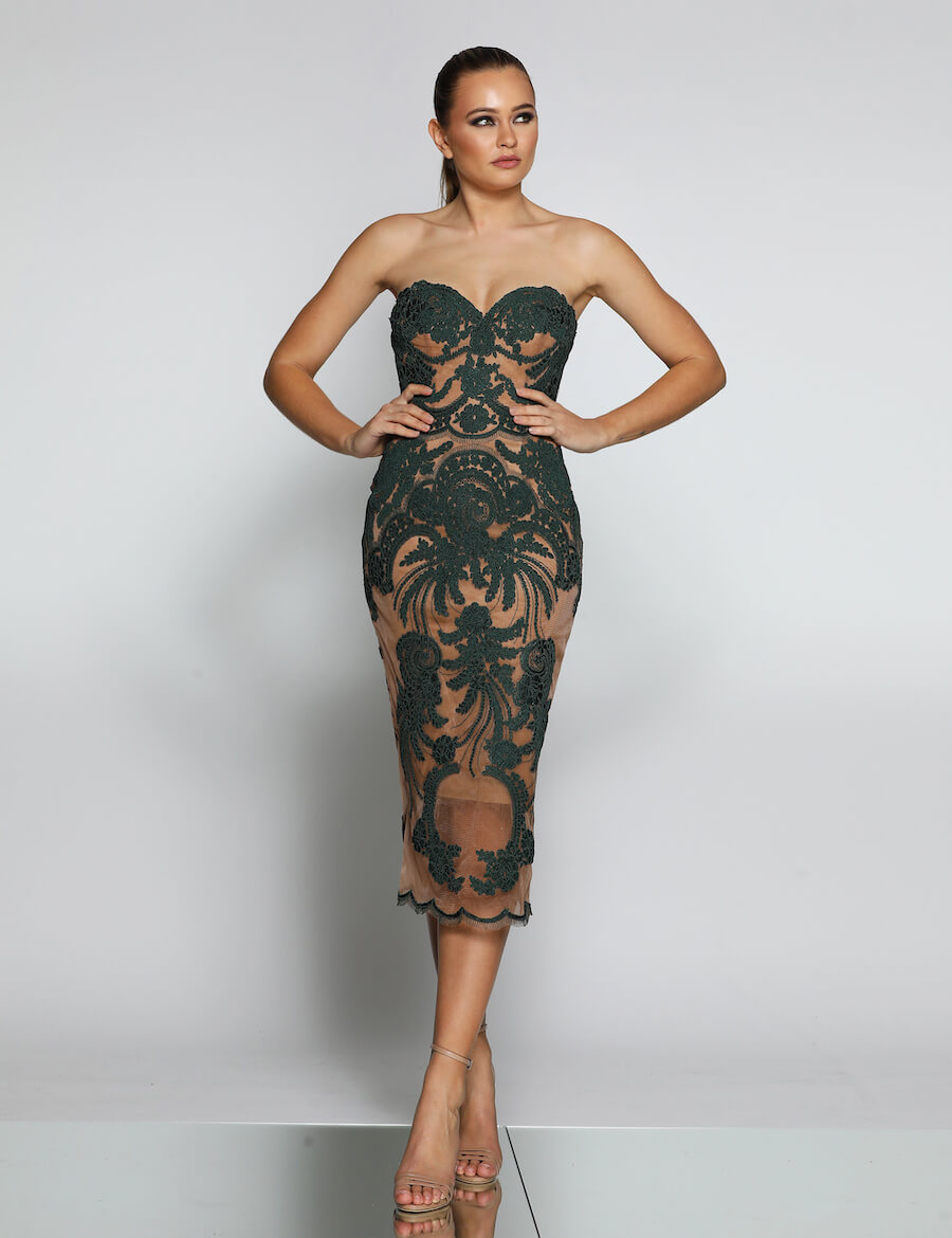 Cocktail Strapless Lace Dress