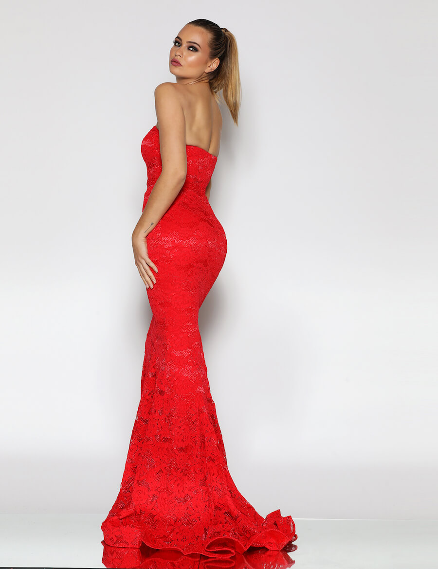 Strapless Lace Fitted Full Length Gown with Train