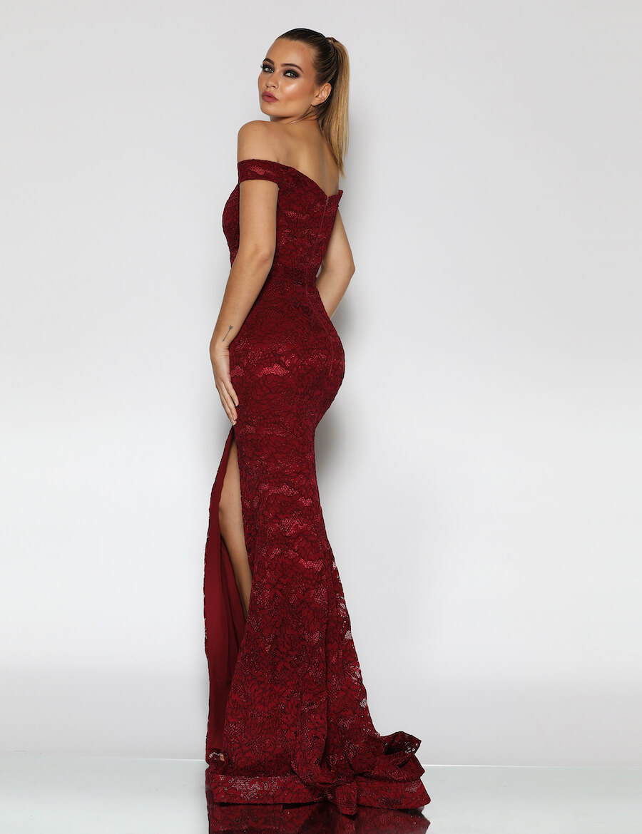 Full Length off the shoulder sweetheart neckline fitted lace gown with high split and lace train