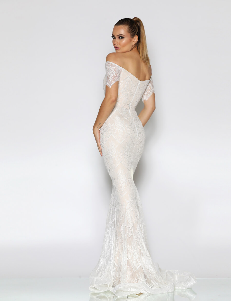 Lace off the shoulder sweetheart neckline full length gown