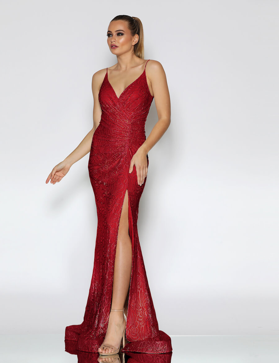 Shoestring strap v neckline rouched full length lace gown with train