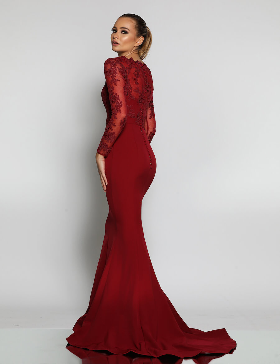Long Sleeve V Neckline Lace Bodice Full Length Gown with train