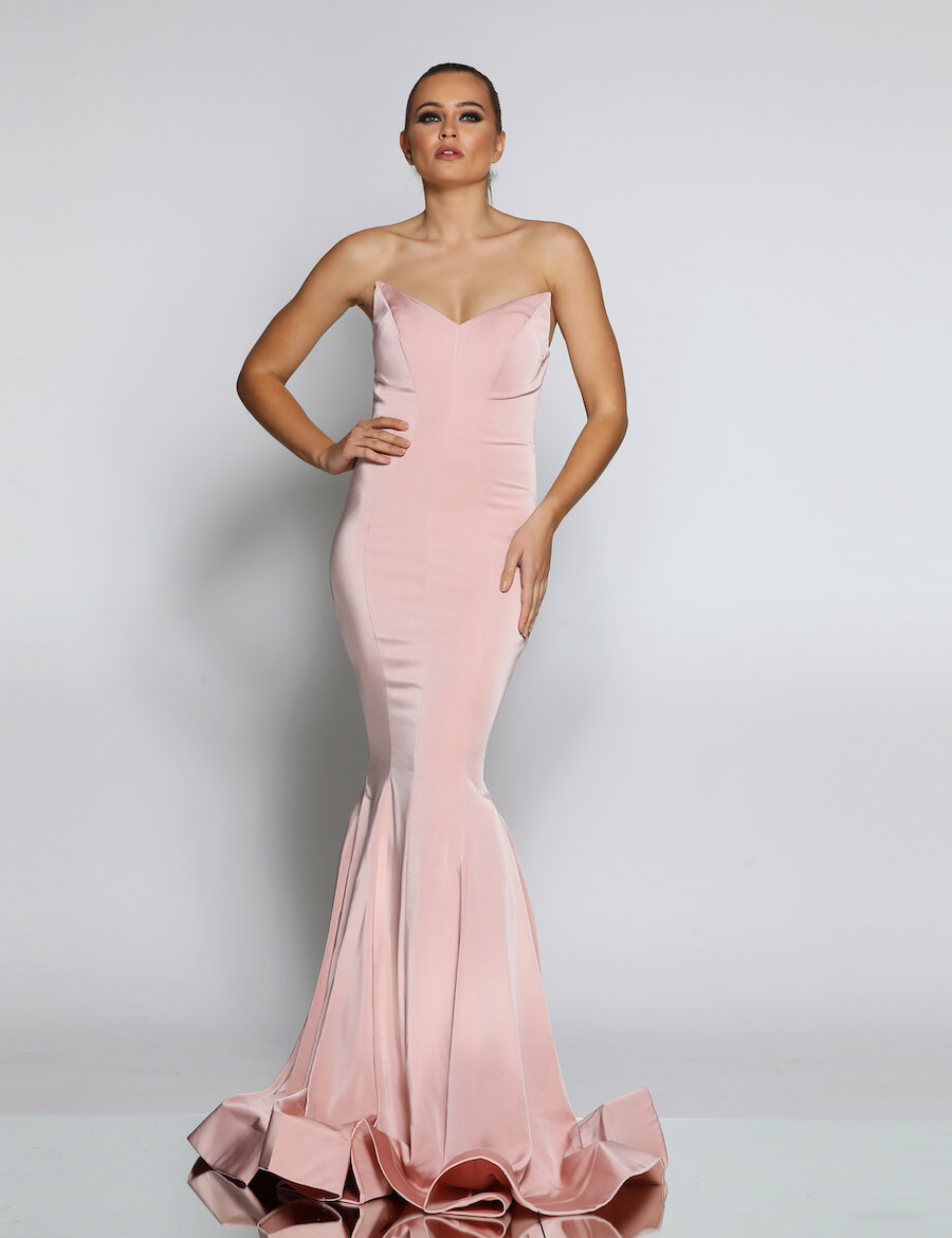 Modern Strapless mermaid gown with small train
