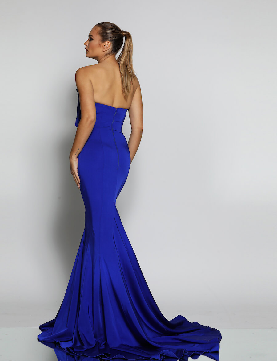 Strapless floor length gown with detailed bust andb small train