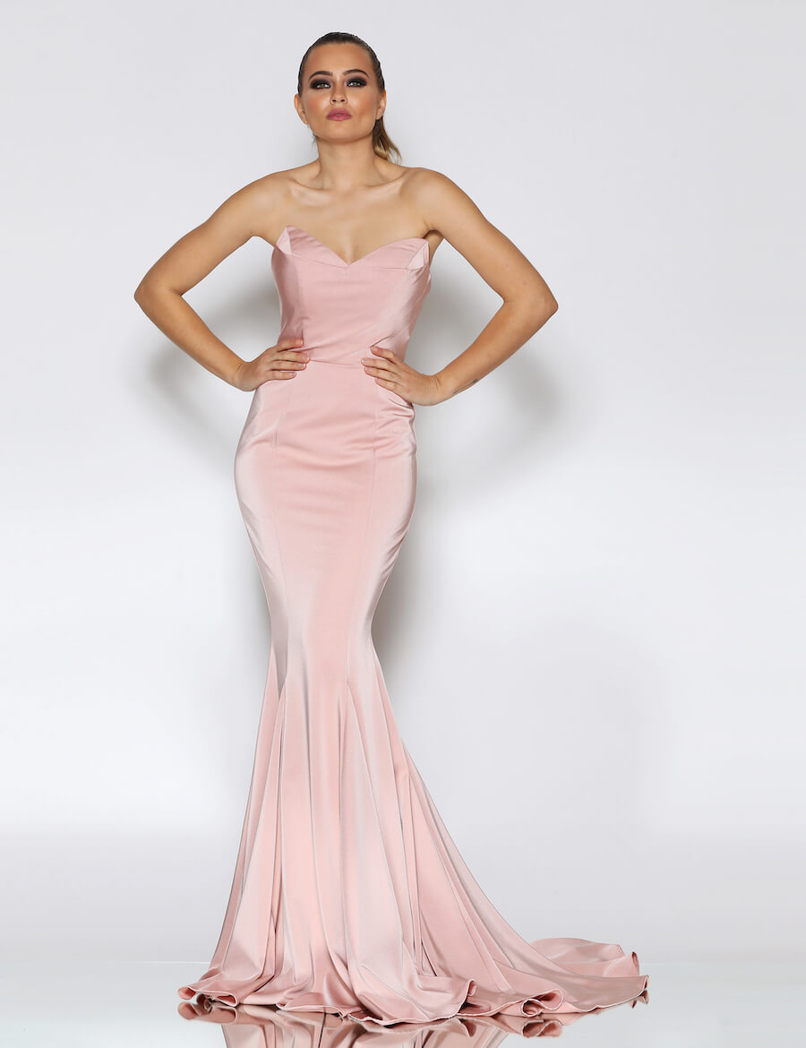 Fully beaded high neckline full length gown with train