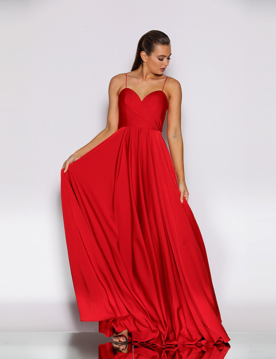 Beautiful Gown with Sweetheart Neckline Full Skirt with Pockets.