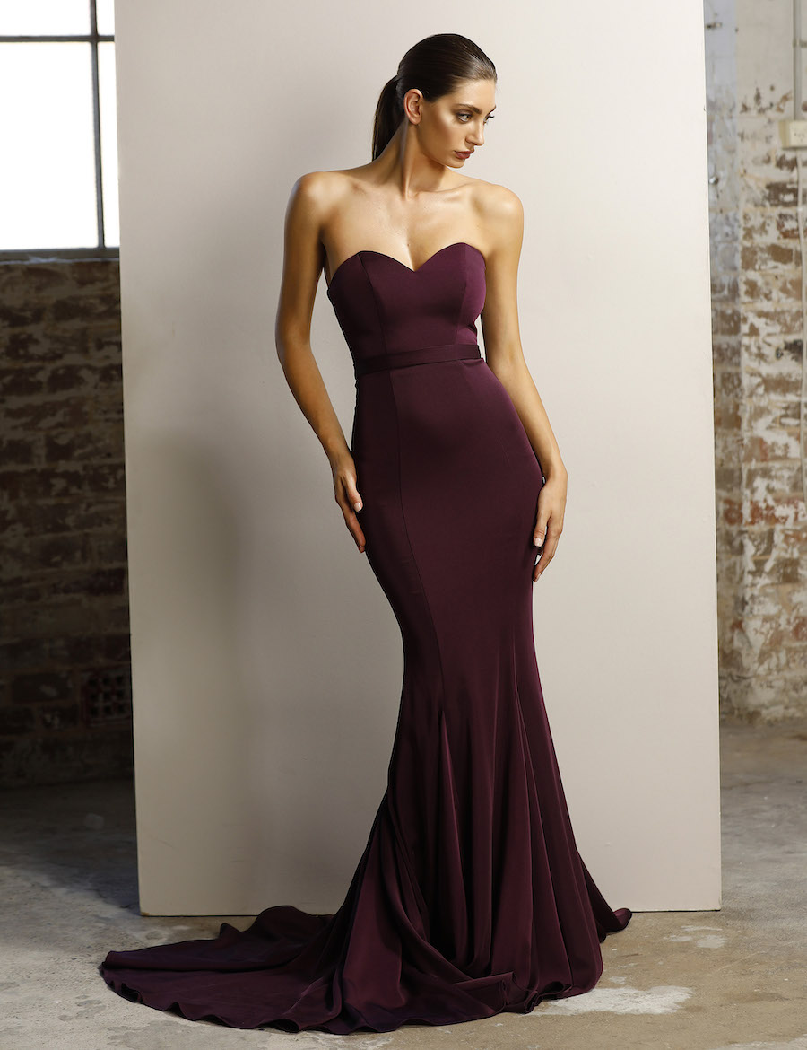 Strapless floor length dress with mermaid hemline and sweetheart neckline