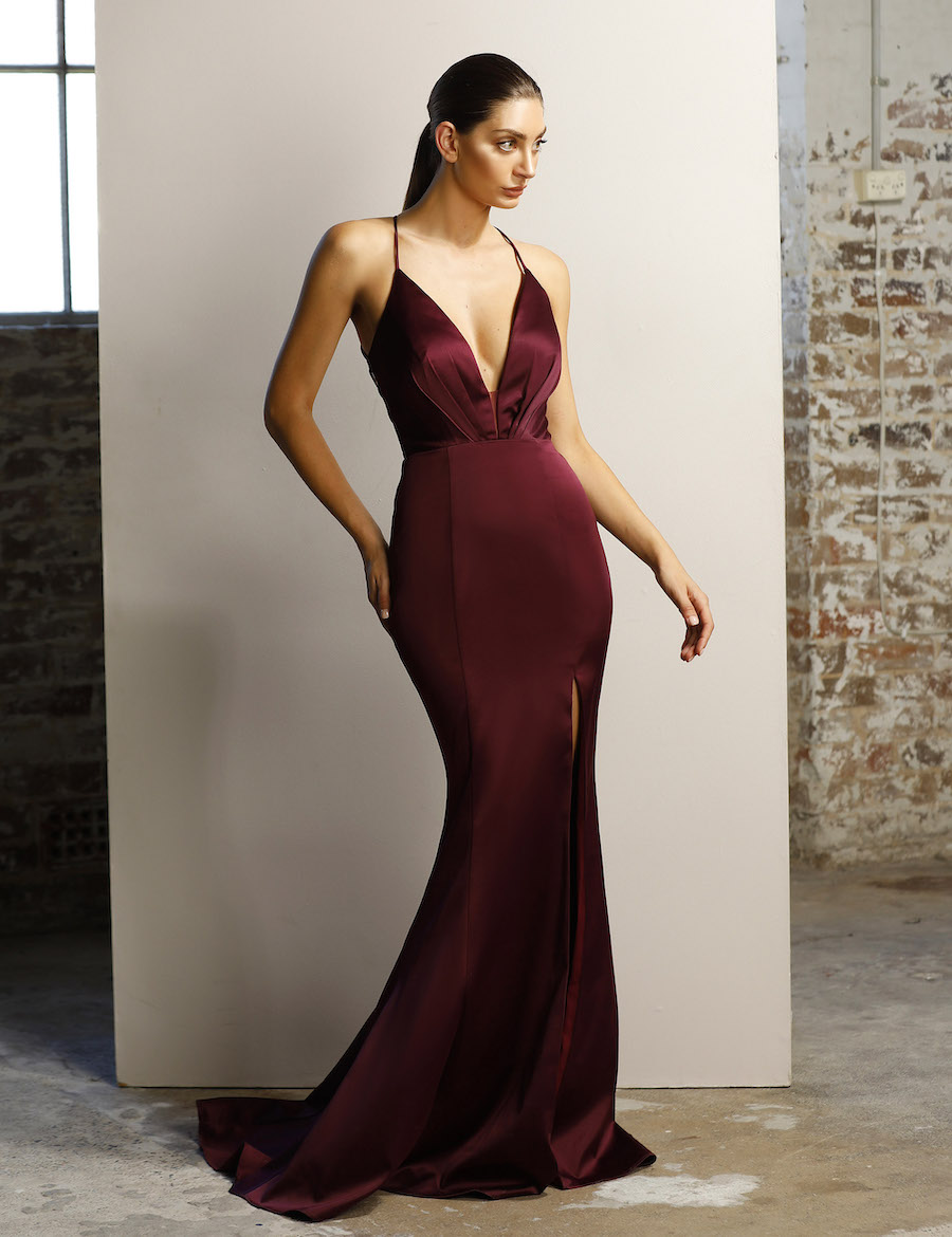 Plunging neckline fitted satin gown with lace back