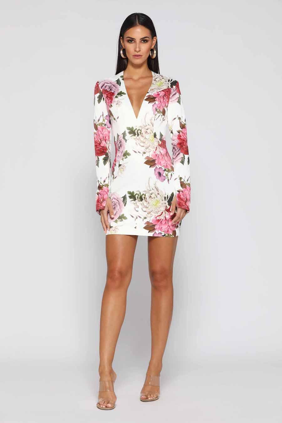 Pretty Floral long sleeve V neck mini dress