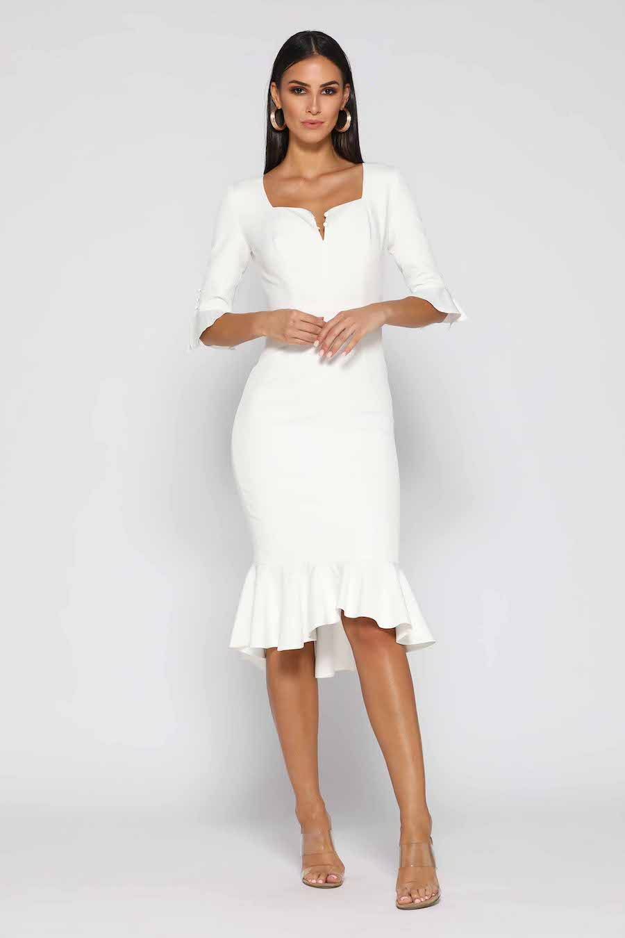 3/4 Sleeve Ivory with fluted hemline