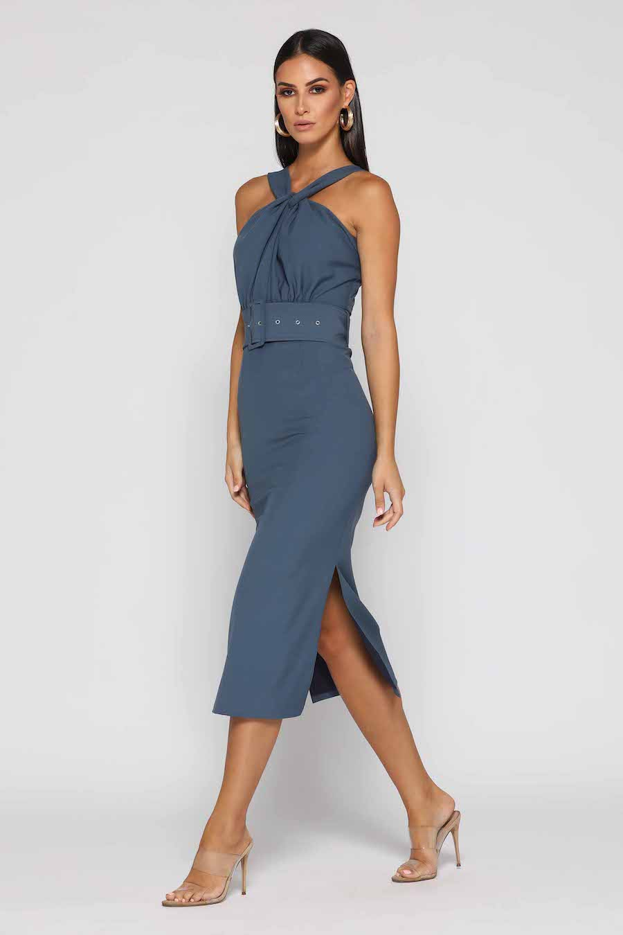 Steel Blue Stunning cocktail halter style dress with wide belt