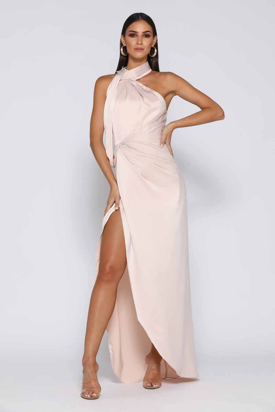 Halter Satin Sleek gown with high split
